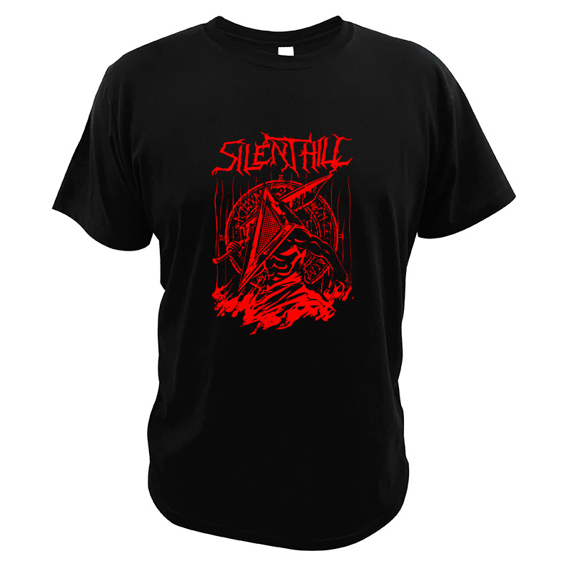 Silent Red Thing T Shirt Silent Hill Horror Video Game Pyramid Head Heavy Metal Parody Digital Print T-shirt image