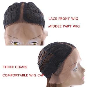 Image 5 - Medium Braun Synthetische Haar Spitze Front Perücken Hohe Temperatur Faser X TRESS Yaki Gerade Kurze Bob Blunt Spitze Perücke Mittleren Teil