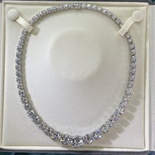 Luxury 100% 925 Sterling Silver Necklaces For Women Full High Carbon Diamond Necklace Bridal Noble Temperament Jewelry