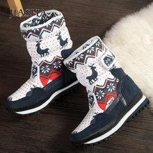 Okrągłe toe zimowe buty damskie buty na platformie 2019 połowy łydki ciepłe zamszowe buty kobieta zimowe śnieg buty damskie buty zapatos de mujer tanie tanio JIASHA NYLON Okrągły nosek Zima Krótki pluszowe RUBBER Platforma Mieszkanie (≤1cm) Hook loop Drukuj 13-LXZ114 Dla dorosłych