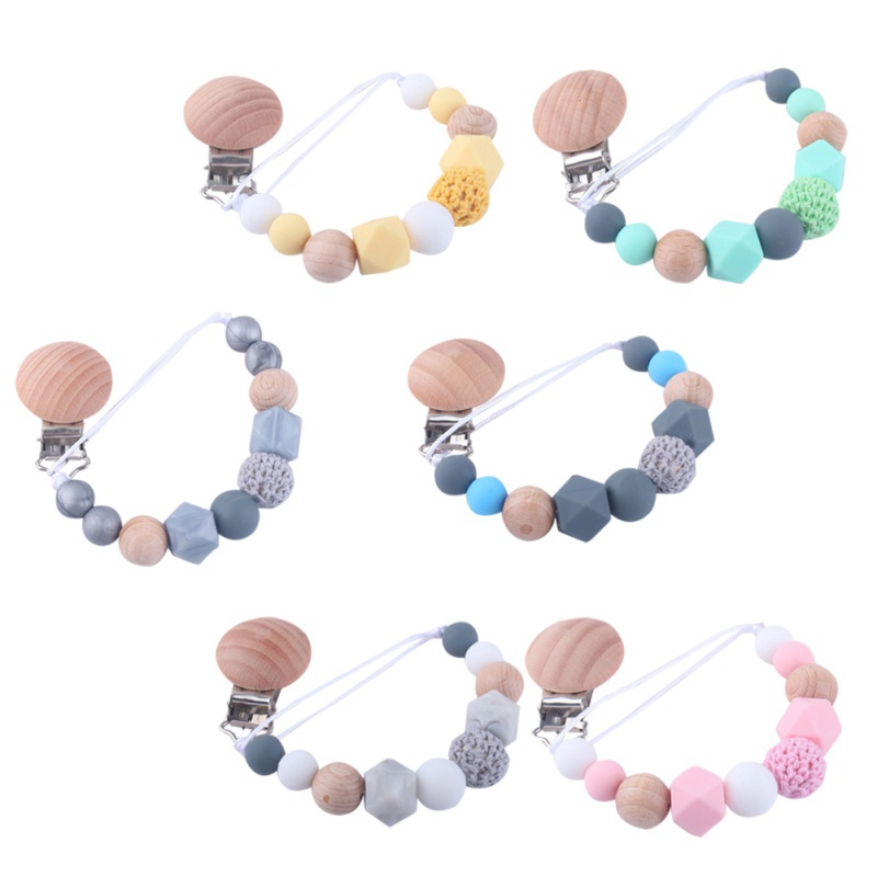 Baby Care Universal Holder Leash For Pacifiers Nipples Clip Infant Child Soother Beaded Wooden Chains Teethers