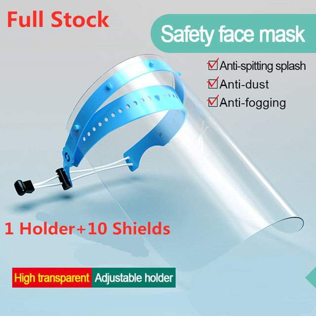 Face Shields Disposable Face Mask Full-Face Protective Mask Anti Saliva Fogging Stretchy Headband Eye Protection