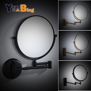 bathroom mirror antique red copper double side make up mirror dressing room round magnifying cosmetic mirror wall mounted nba631 Dressing Mirror Wall Mounted 8 inch Brass  Magnifying Mirror Folding Black Oil/Gold Makeup Mirror Cosmetic Mirror Lady Gift