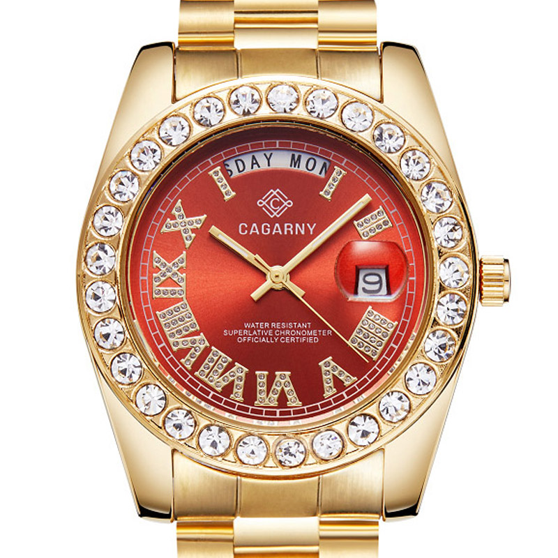 Unisex Luxury Diamond Gold Watch Men Women Couple Watches Quartz Stainless Steel Date Week Waterproof Top Brand Wristwatch
