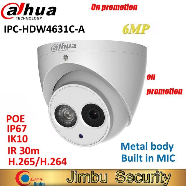 Dahua 6MP IP Camera IPC HDW4631C A H.265 full metal body Built in MIC IR30m IP67 IK10 CCTV Dome security Camera Multi language