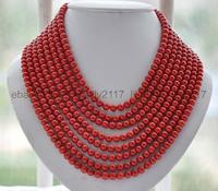 Genuine natural 8 rows 6mm red coral round beads Necklace Handmade 17 24 Inch AAAA