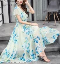 High Quality Bohemian S-5XL 2021 Summer New Arrival V Collar Collect Waist Flare Sleeve Flower Printed Woman Chiffon Long Dress