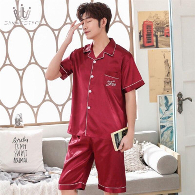SAMWESTART Men's Stain Silk Pajama Sets Summer Spring Men Short Pajamas Nightwear Men Sexy Modern Style Solid Color Sleepwear