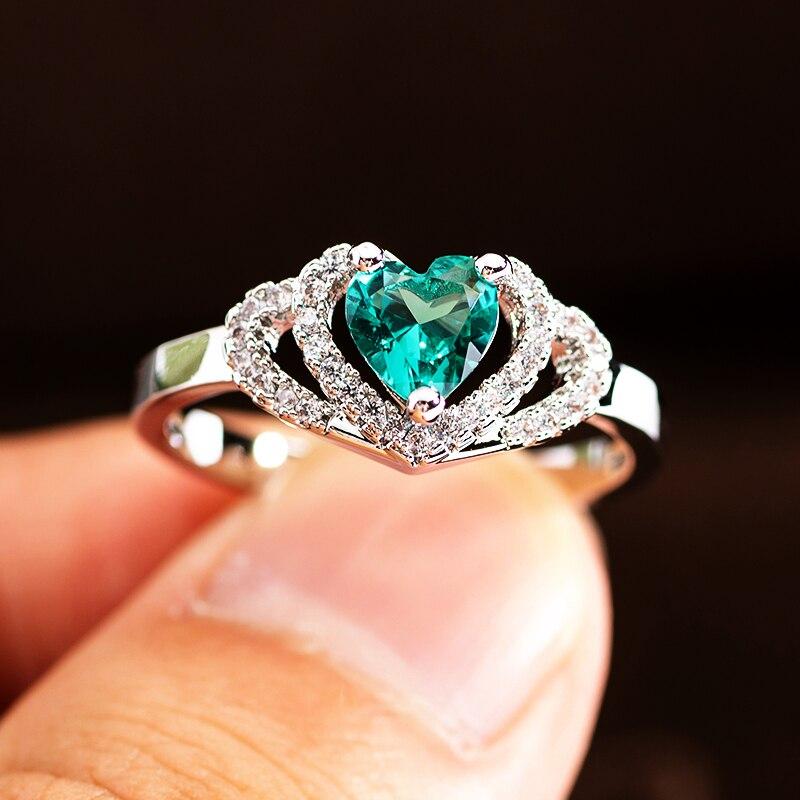 Модные обручальные кольца с кристаллами и зеленым Цирконом в форме сердца для женщин, розовое золото, элегантные обручальные кольца, ювелир...