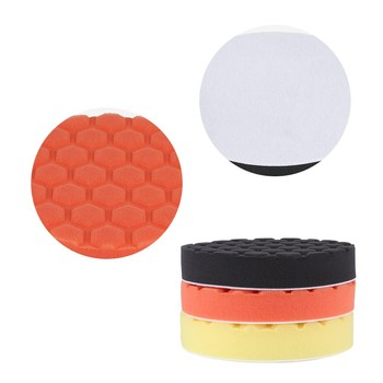 Buffing Sponge Polishing Pad Kit Set 3pcs 5/6/7inch Hexagonal Polished Sponge Disc For Car Polisher Buffer 5pcs polished sponge disc 3 4 5 6 7 inch buffing sponge polishing pad hand tool kit for car polisher wax free shipping