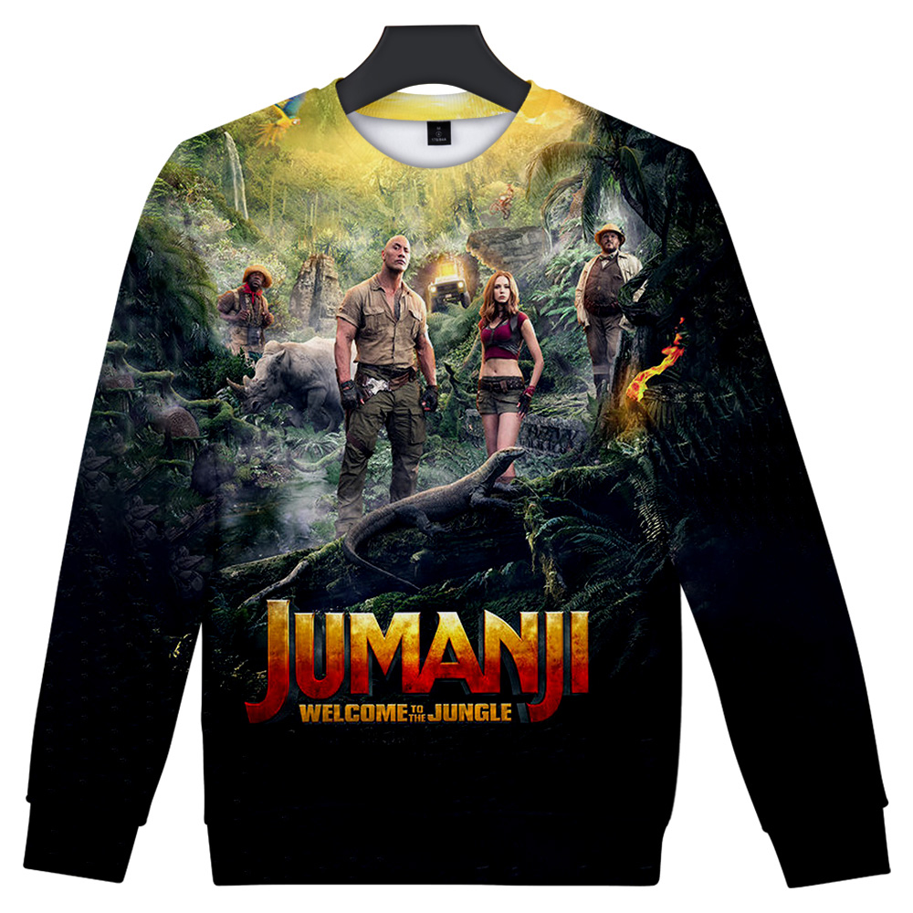 2019 Streetwear Jumanji Hoodies O-Neck Long Sleeves Cotton Harajuku Jumanji Sweatshirt Hoody For Men Streetwear Plus Size