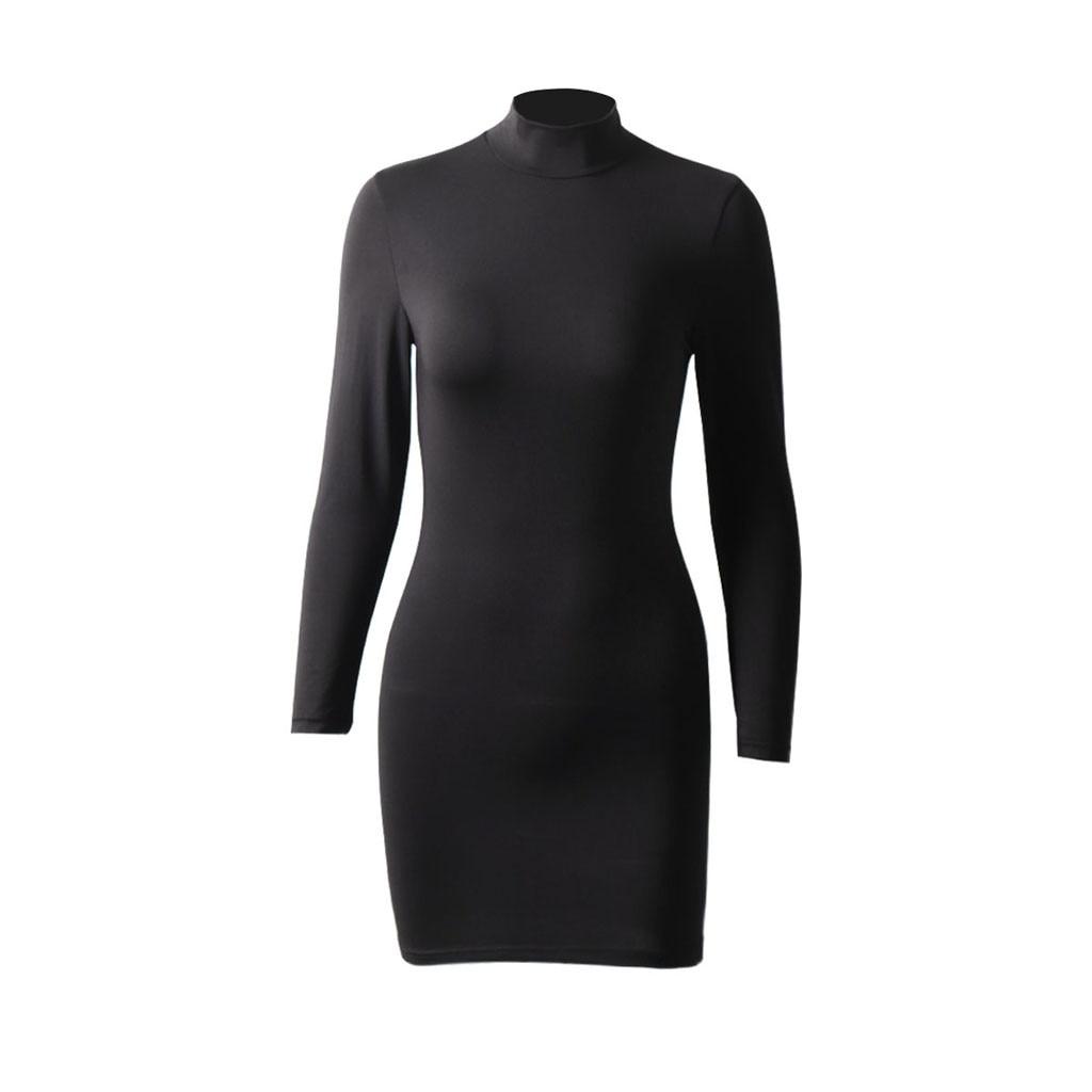 Fashion Women black dress Sexy Solid Long Sleeve Stand Neck Sheath Tight Short Mini bodycon dress