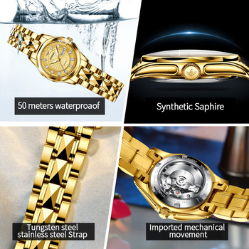 OUPINKE Luxury Gold Mechanical Watch For Women Sapphire Crystal Automatic Watch Ladies Wristwatches Waterproofrelogio feminino 6