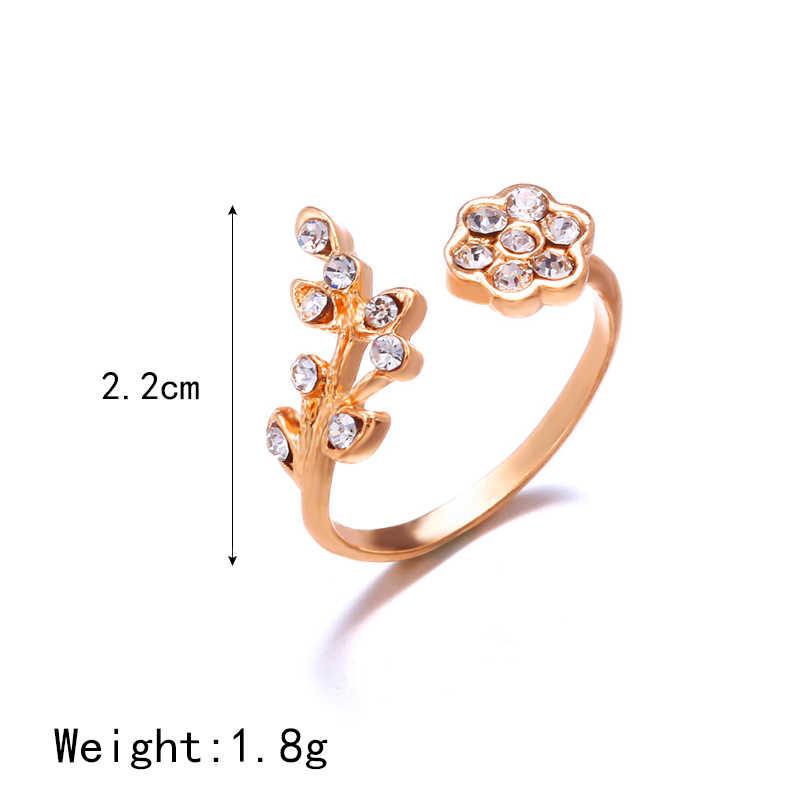 แฟชั่นแหวนทองสี & เงิน Wishful ดอกไม้ใบสาขาแหวนผู้หญิงเครื่องประดับงานแต่งงาน