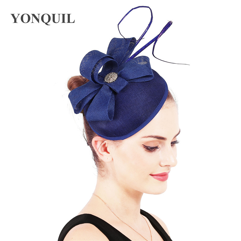 Lady Cocktail Wedding bride hat Church Headdress Vintage Headwear Formal Feather Hair Accessories Women Chic Fascinator Hat