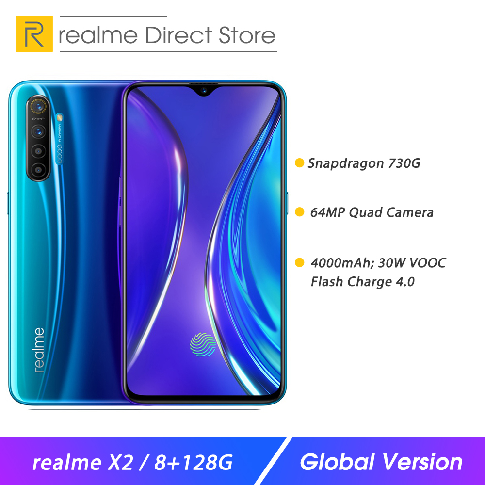 """realme X2 8GB RAM 128GB ROM 6.4"""" NFC Smartphone Snapdragon 730G 64MP Quad Camera Moblie Phone OPPO VOOC Fast Charge Cellphone"""