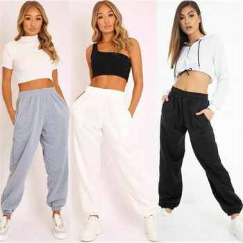 цена на hirigin women's plain fleece jogger drawstring loose two pocket fashion sweat pants female solid casual pant laides new elastic