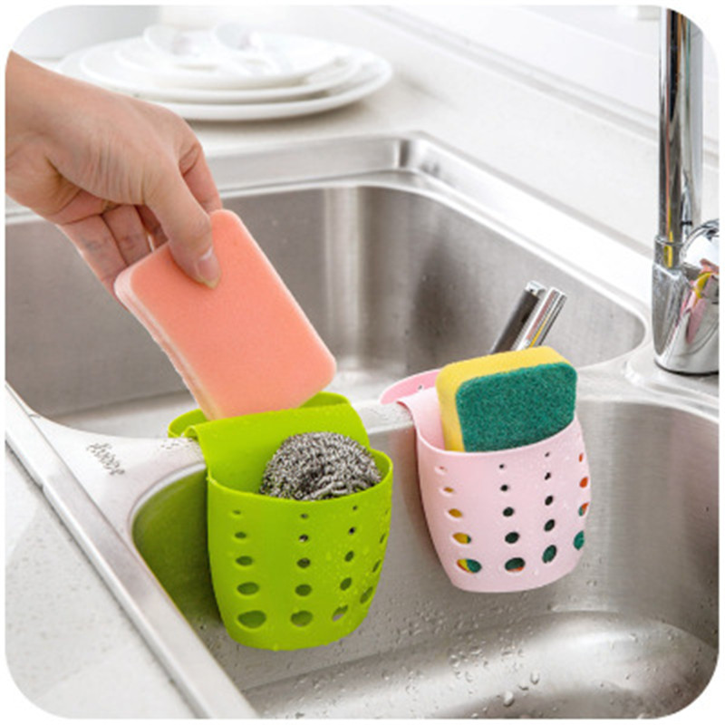Kitchen Sink Sponge Holder Draining Rack Sink Kitchen Hanging Drain Storage Tools Storage Shelf Sink Holder Drain Basket 1PCS
