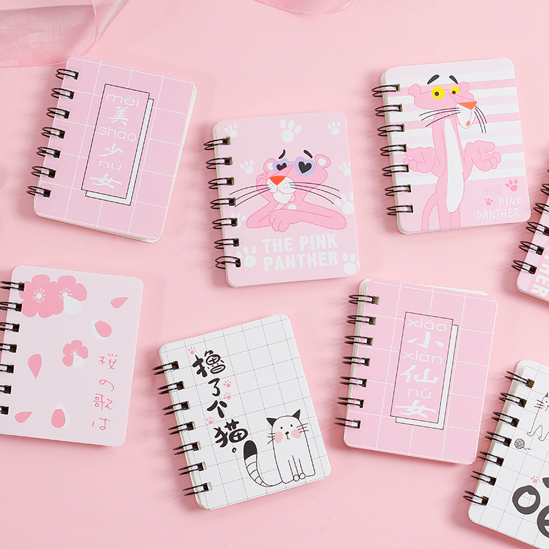 16 Styles  Kawaii Cute Pink Panther Memo Pad Korean Stationery Student Rollover Coil Notebook Portable Notebook School Supplies