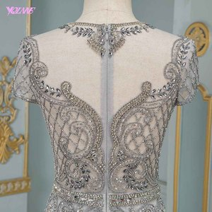 Image 5 - Luxury Silver Rhinestones Cap Sleeve Evening Dresses Long Mermaid Evening Gown Competition Formal Dress Robe De Soiree