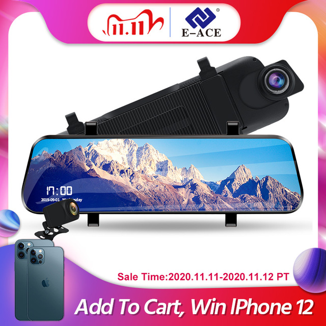 E ACE Android 4G GPS Navigators 10 Inch Car Dvr 1080P Video Recorder Rearview Mirror DVRs With WiFi Buletooth Android ADAS