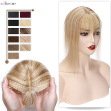 Hair-Toppers Silk Base Fake-Hair with Bangs Wigs Straight Clip-In 6x9cm S-NOILTE