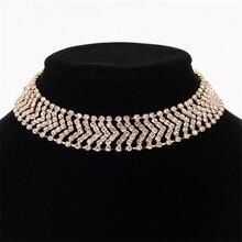 цена на Fashion Rhinestone choker necklace Women Luxury Chocker Necklace long necklace Collier Statement jewelry N310