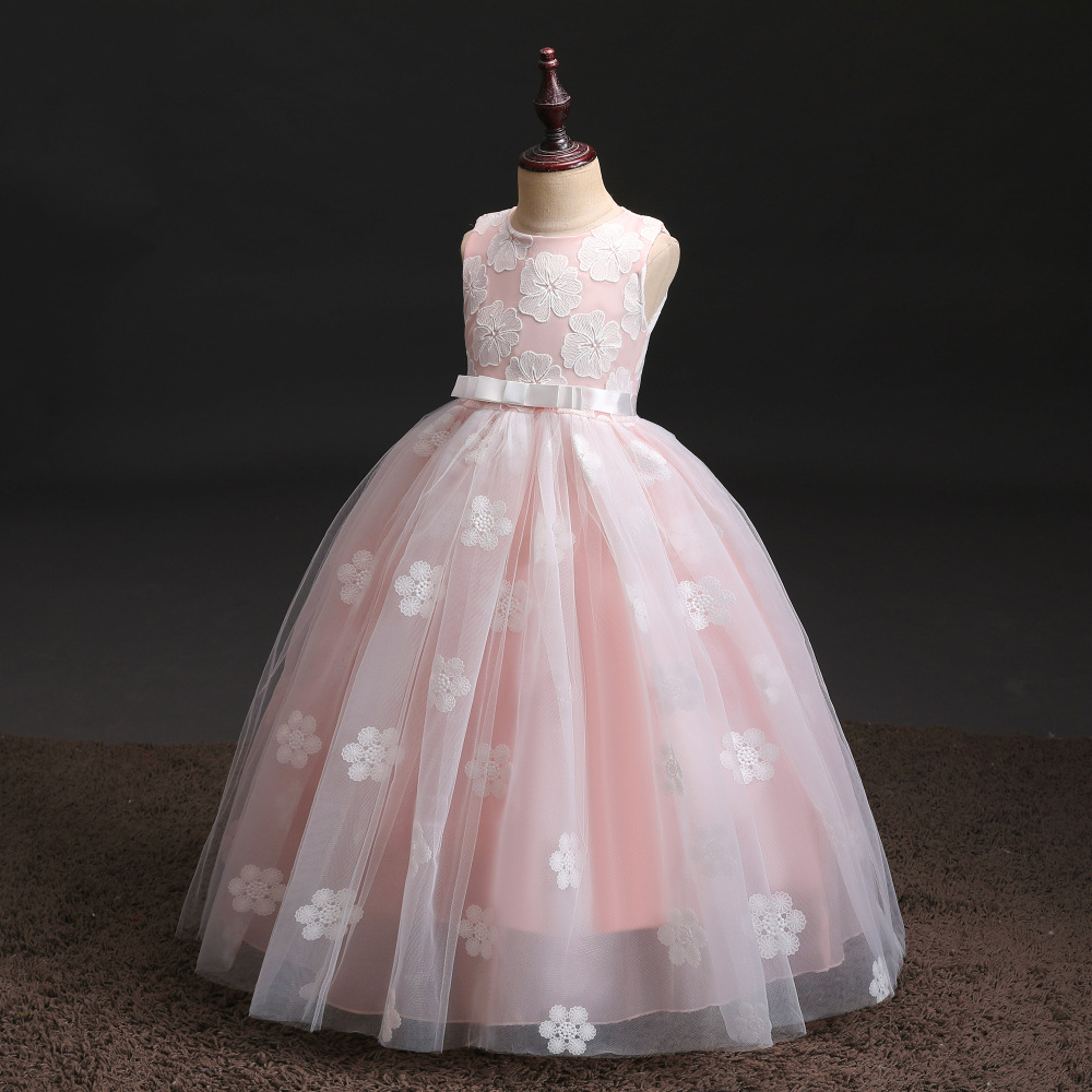 Hot Selling Girls Wedding Dress Tutu Big Kid Princess Dress 2019 New Style Children Host Formal Dress