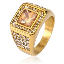 Luxury Lover Finger Rings Titanium Steel Couples Jewelry Square Crystal Anniversary Engagement Party Wedding Gifts