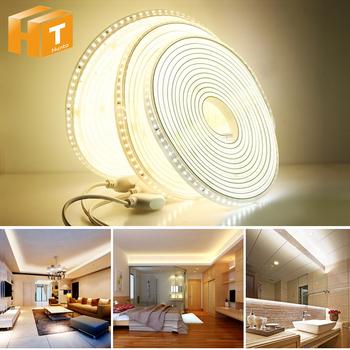 220V LED pasek 2835 wysokie bezpieczeństwo o wysokiej jasności 120 diody LED m elastyczne światło LED zewnętrzne wodoodporne LED pasek światła tanie i dobre opinie Hunta CN (pochodzenie) ROHS SALON 50000 ZAWSZE WŁĄCZONY Taśmy Epistar 3200K 4500K 5500K 220 v Smd2835 LED Strip Light