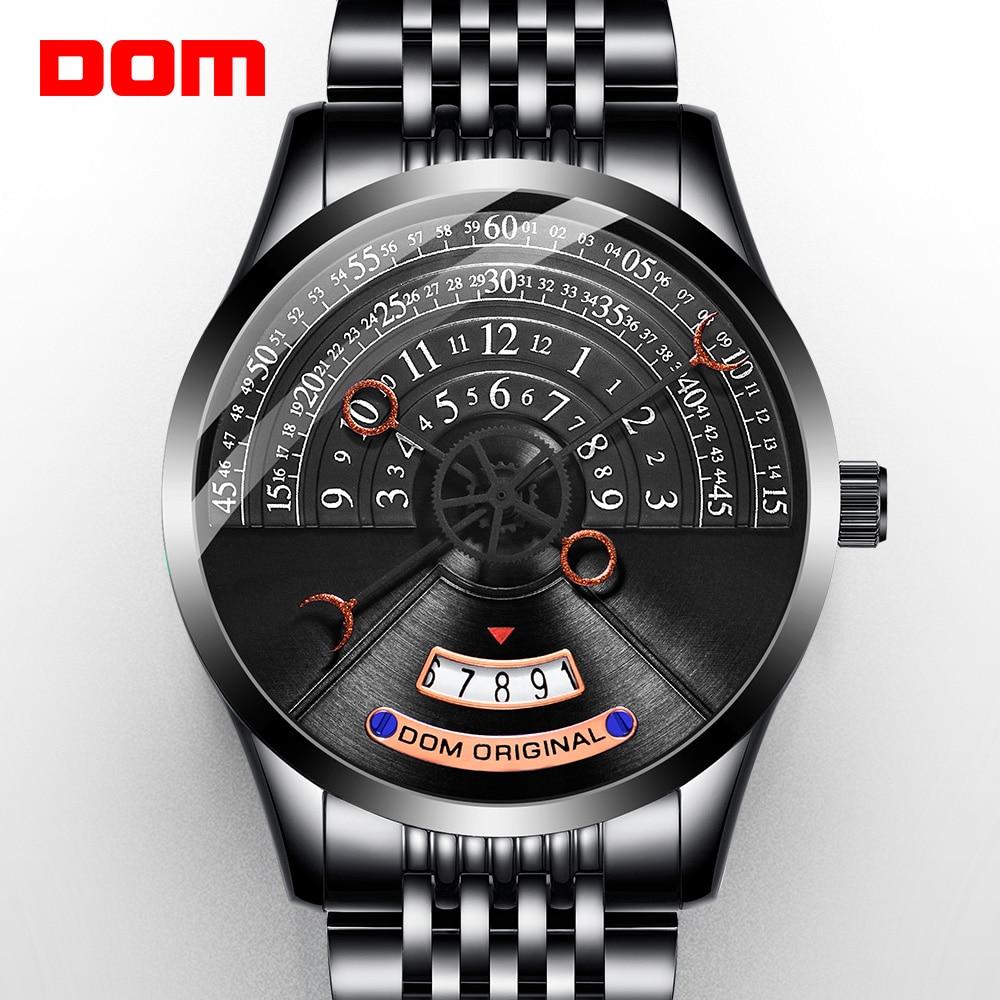 Оригинальные мужские часы DOM, механические часы, мужские механические часы, Роскошные мужские часы из нержавеющей стали