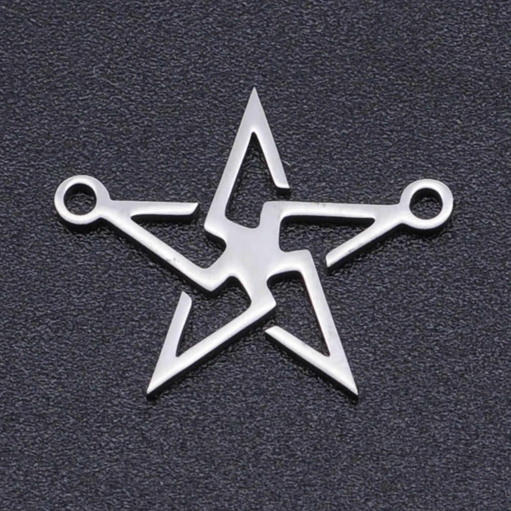 5 Buah/Banyak Bintang David DIY Anting-Anting Pesona Grosir 100% Stainless Steel Meteor Konektor Pesona Berbintang Perhiasan Liontin