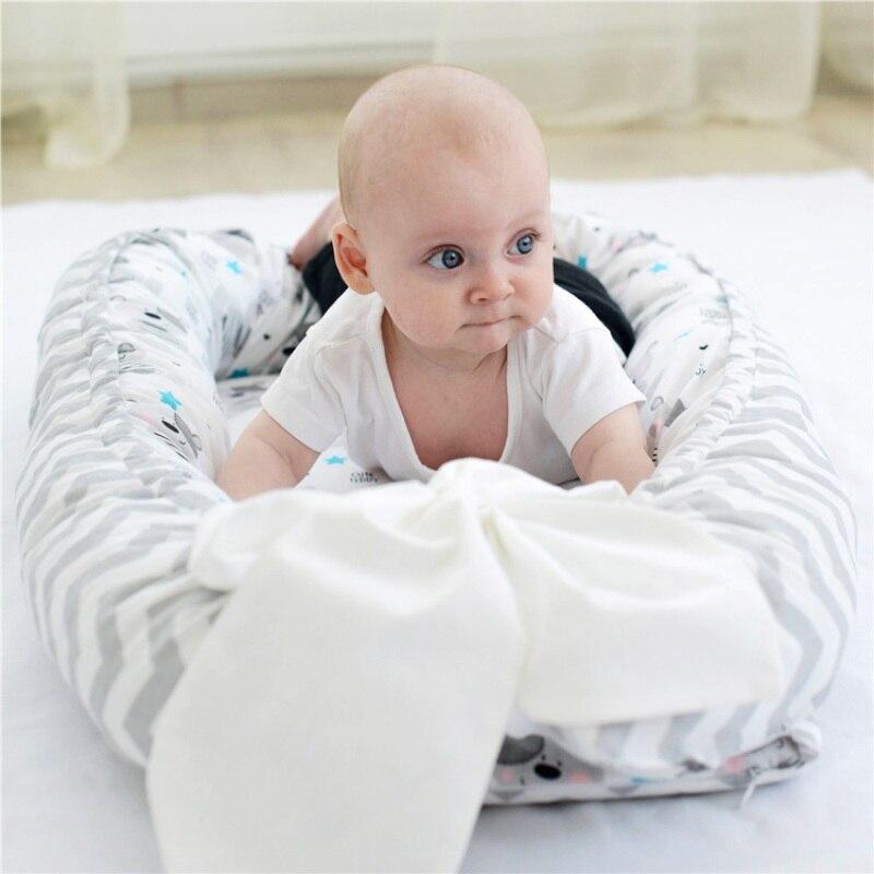 Chaise longue bébé coton nouveau-né chaise longue détachable Portable lavable bébé blottir nid voyage couchette pour enfant en bas âge - 5
