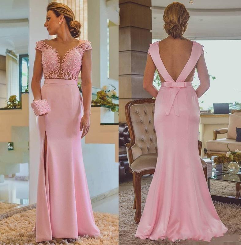 Pink Mermaid Side Split Lace Applique Beaded Backless Bow Long Wedding Guest Prom Evening Gown 2018 Mother Of The Bride Dresses
