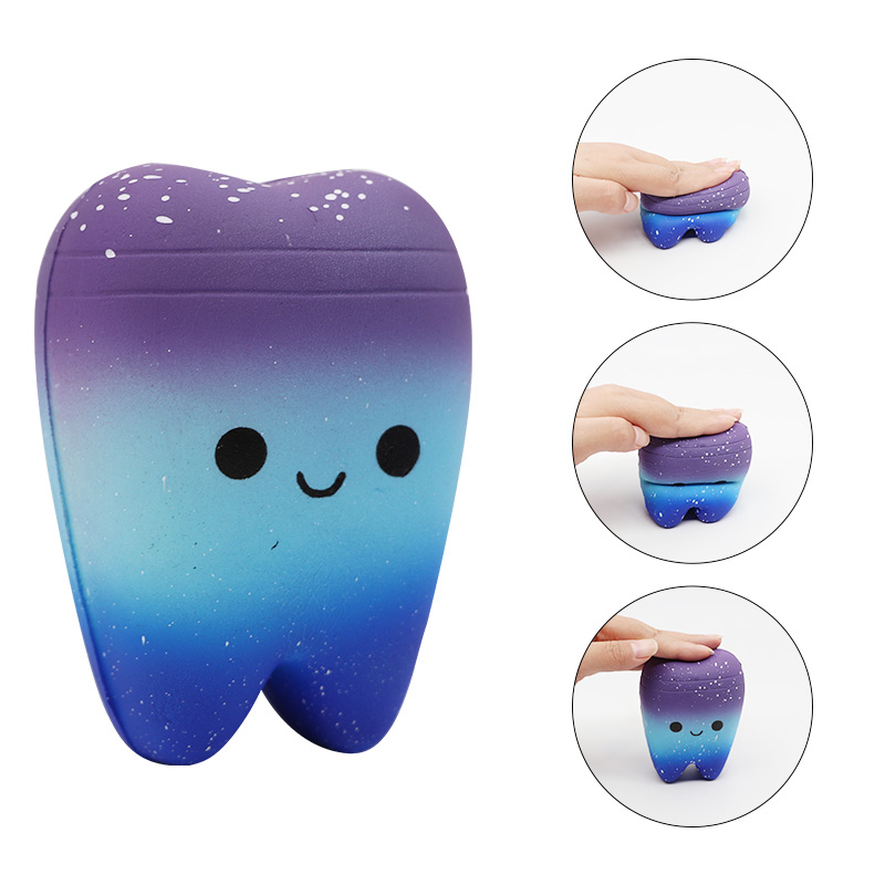 1pc Dental Teeth Shape Squeeze Slow Rising Gift Cute Cartoon Hand Spinner Stretchy Relax Squishy Toy Tooth Pendant Dentist Gift