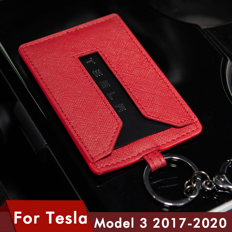 Model3 Leather Key Card Holder Protector Cover Key Chain For Tesla Model 3 Card Holder Key Case Black Key Ring Bag Chain Clip