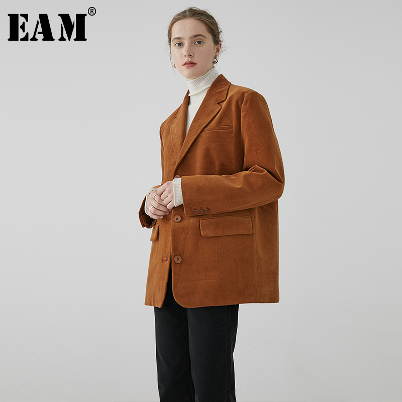[EAM]  Women Corduroy Brief Big Size Blazer New Lapel Long Sleeve Loose Fit  Jacket Fashion Tide Spring Autumn 2020 1R080