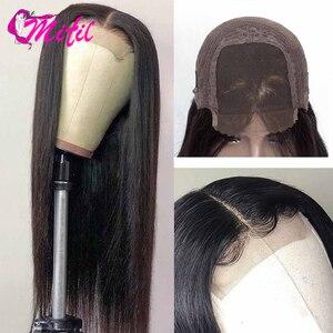 Image 3 - Mifil saç 4x4 malezya düz dantel kapatma 130% yoğunluk % 100% İnsan Remy saç kapatma ücretsiz orta üç bölüm kapatma