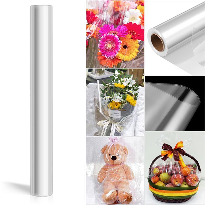 25 м прозрачная целлофановая оберточная бумага, 2,3 мил целлофановая оберточная бумага для рождественского подарка, цветочный букет, бумажна...
