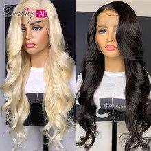 Glueless#613 блонд кружевные передние человеческие волосы парики бразильские объемные волнистые кружевные передние парики предварительно выщипанные медовые светлые Реми кружевные парики