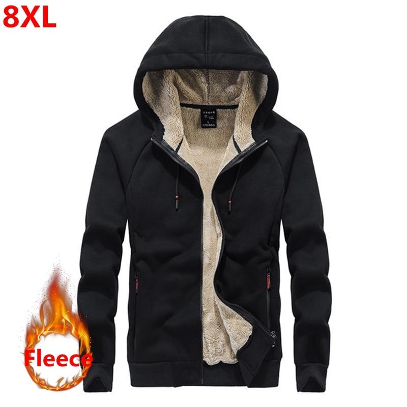 Autumn and winter new men's Fleece hoodie Plus size casual loose large size men's plus velvet jacket male 8XL