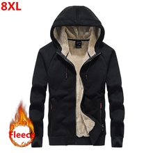 Autumn and winter new mens Fleece  hoodie Plus size casual loose large size mens plus velvet jacket male 8XL