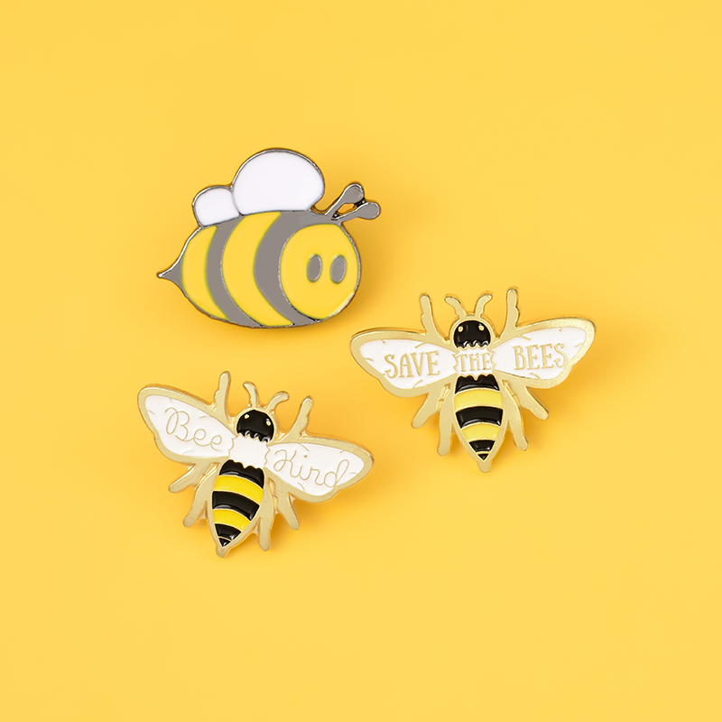 Bee Enamel Pin Custom homophonic Be Kind Save Bee Brooches Bag Clothes Lapel Pin Pink Blue Round Badge Honey Bee Jewelry Gift 5