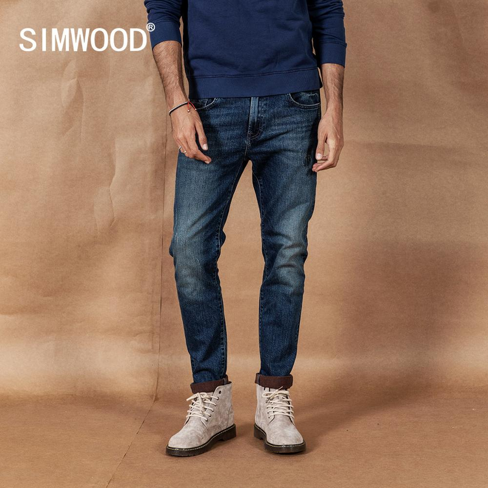 SIMWOOD 2019 autumn winter new jeans men fashion ripped high quality plus size brand clothing denim trousers 190361