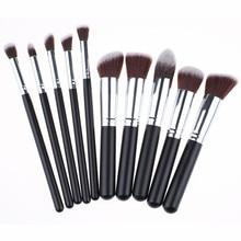 10Pcs Professional  Makeup Brush Kit Make Up Brushes Wood Handle Portable Set For Women Tools