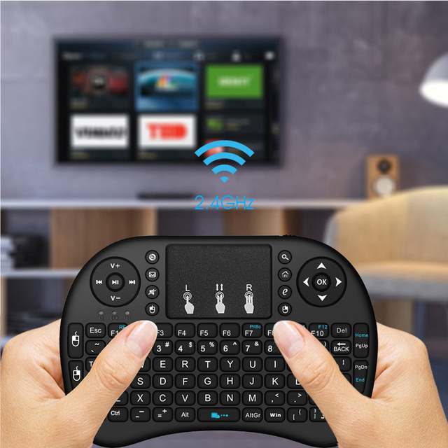 Wechip i8 Russian English Version 2.4GHz Wireless Keyboard Air Mouse With Touchpad Handheld Work With Android TV BOX Mini PC 18 4