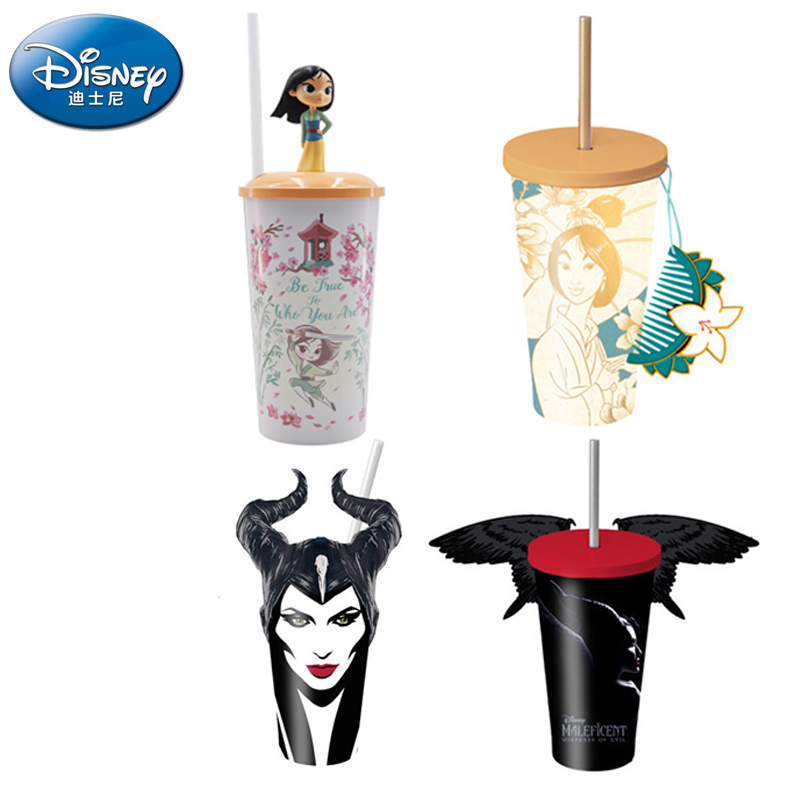 Original Disney Mulan Princess Maleficent Cute Straw Cup Popcorn Bucket Collection Active Figure  Cartoon Gift For Girls