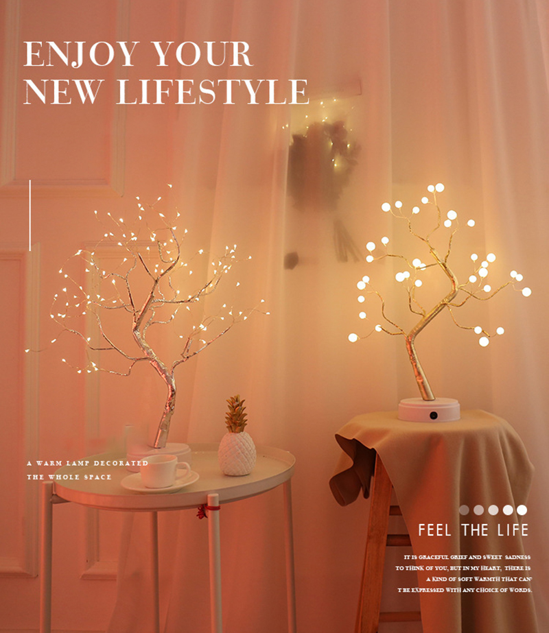 LED tactile Mode réglable arbre veilleuse fil de cuivre USB Table lampe de bureau décoration fournitures maison veilleuses sans batterie