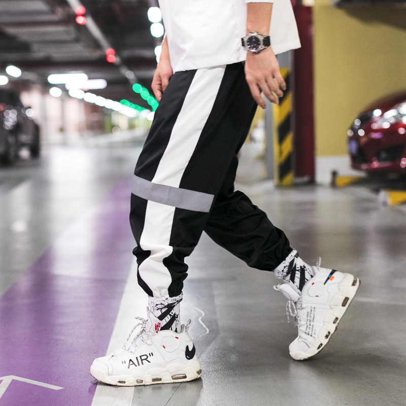 2019 Autumn Flash Reflective Pants Men Joggers Hip Hop Dancing Side Striped Track Pants Harem Baggy Trousers Streetwear
