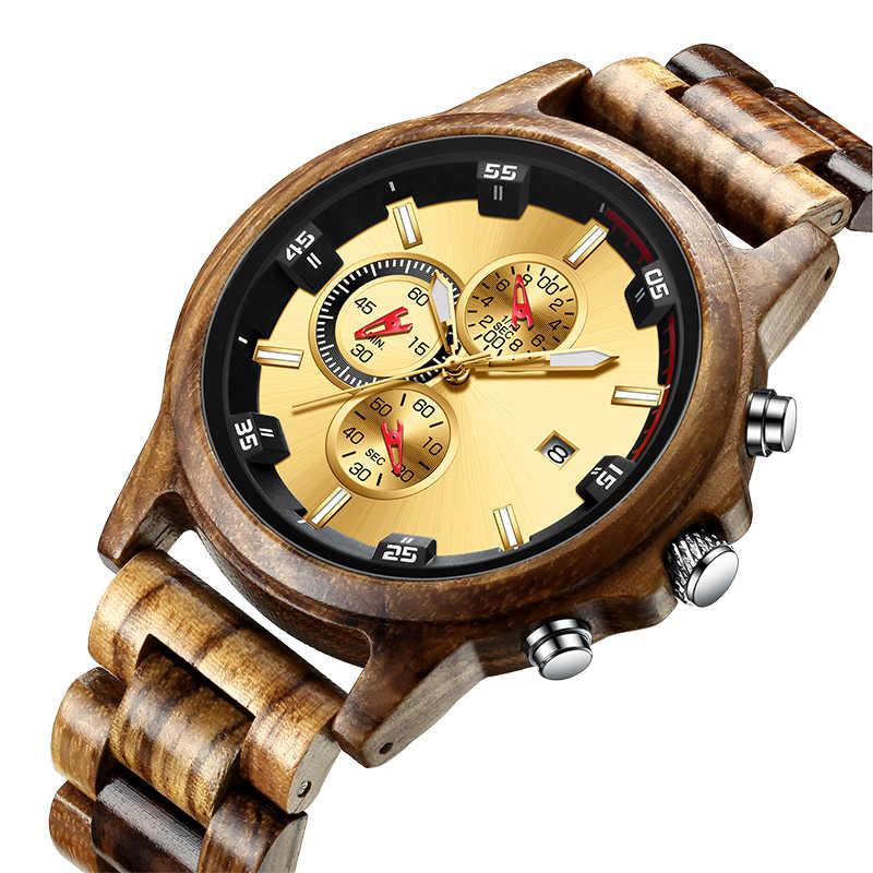 Relógio de madeira data exibição casual masculino luxo cronógrafo esporte ao ar livre militar relógios quartzo em madeira relogio masculino